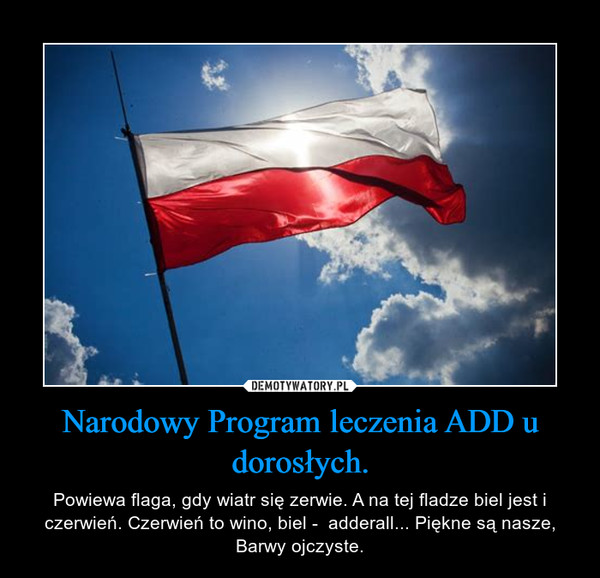 Narodowy Program leczenia ADD u dorosłych. – Powiewa flaga, gdy wiatr się zerwie. A na tej fladze biel jest i czerwień. Czerwień to wino, biel -  adderall... Piękne są nasze, Barwy ojczyste.