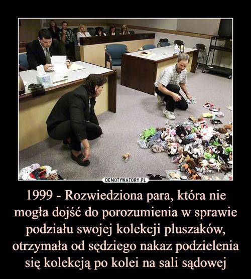 1999 - Rozwiedziona para, która nie mogła dojść do porozumienia w sprawie podziału swojej kolekcji pluszaków, otrzymała od sędziego nakaz podzielenia się kolekcją po kolei na sali sądowej