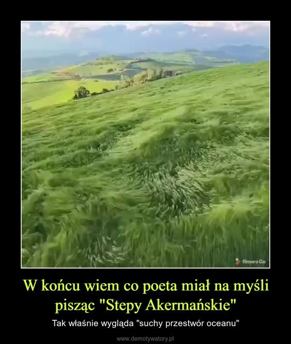 """W końcu wiem co poeta miał na myśli pisząc """"Stepy Akermańskie"""" – Tak właśnie wygląda """"suchy przestwór oceanu"""""""