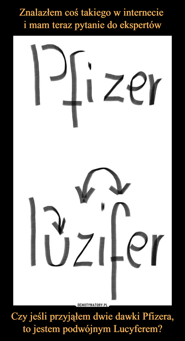 Czy jeśli przyjąłem dwie dawki Pfizera, to jestem podwójnym Lucyferem? –