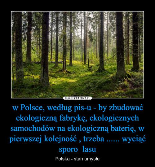 w Polsce, według pis-u - by zbudować ekologiczną fabrykę, ekologicznych samochodów na ekologiczną baterię, w pierwszej kolejność , trzeba ...... wyciąć sporo  lasu