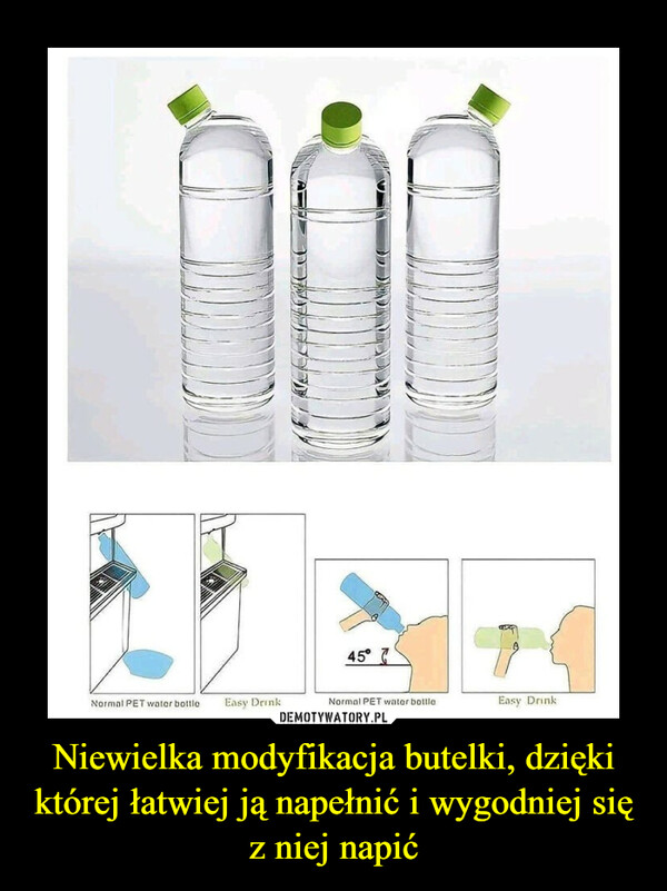 Niewielka modyfikacja butelki, dzięki której łatwiej ją napełnić i wygodniej się z niej napić –