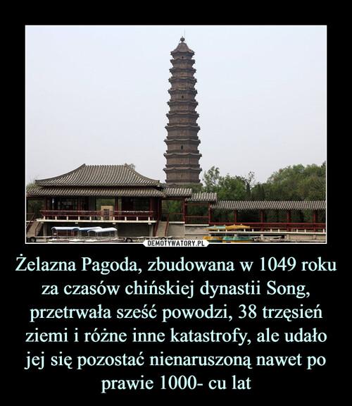 Żelazna Pagoda, zbudowana w 1049 roku za czasów chińskiej dynastii Song, przetrwała sześć powodzi, 38 trzęsień ziemi i różne inne katastrofy, ale udało jej się pozostać nienaruszoną nawet po prawie 1000- cu lat