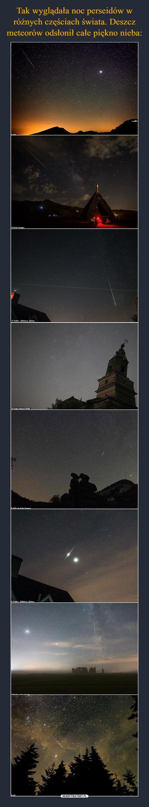 Tak wyglądała noc perseidów w różnych częściach świata. Deszcz meteorów odsłonił całe piękno nieba: