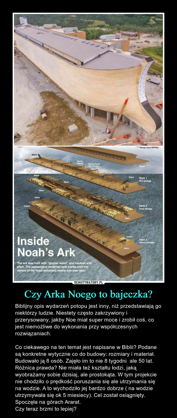 Czy Arka Noego to bajeczka? – Biblijny opis wydarzeń potopu jest inny, niż przedstawiają go niektórzy ludzie. Niestety często zakrzywiony i przerysowany, jakby Noe miał super moce i zrobił coś, co jest niemożliwe do wykonania przy współczesnych rozwiązaniach.Co ciekawego na ten temat jest napisane w Biblii? Podane są konkretne wytyczne co do budowy: rozmiary i materiał. Budowało ją 8 osób. Zajęło im to nie 8 tygodni  ale 50 lat. Różnica prawda? Nie miała też kształtu łodzi, jaką wyobrażamy sobie dzisiaj, ale prostokąta. W tym projekcie nie chodziło o prędkość poruszania się ale utrzymania się na wodzie. A to wychodziło jej bardzo dobrze ( na wodzie utrzymywała się ok 5 miesiecy). Cel został osiągnięty. Spoczęła na górach Ararat.  Czy teraz brzmi to lepiej?